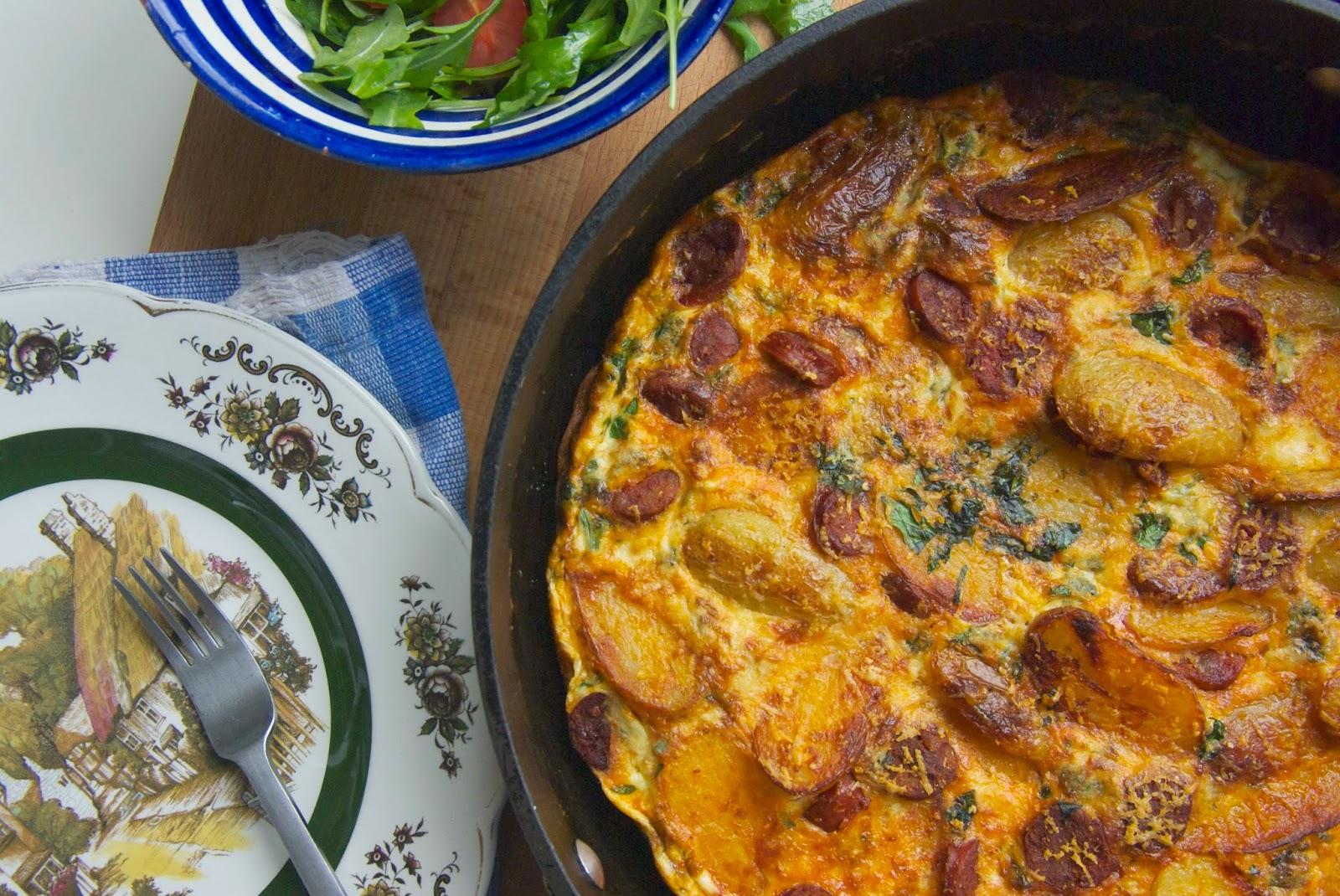 Chorizo and new potato herby frittata